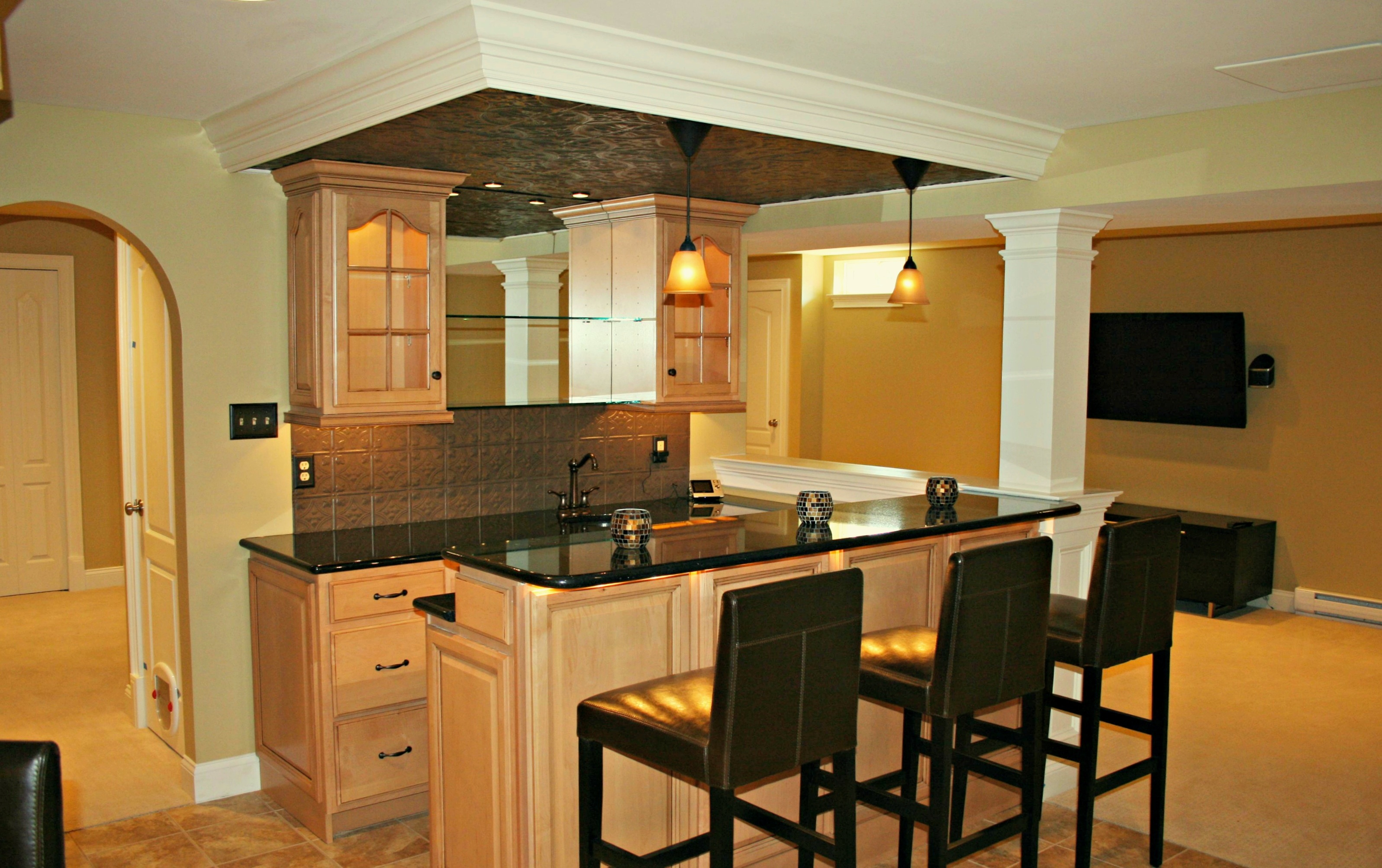 Basement bars are designed and built by deacon home for Kitchenette layout